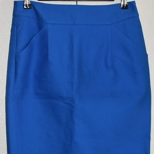 J. Crew The Pencil Skirt blue size 2 cotton